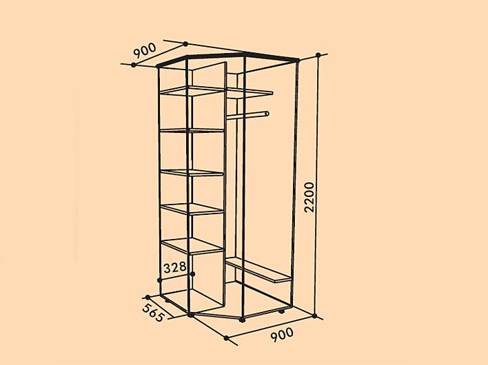 Классический угловой шкаф с